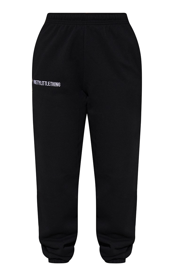 PRETTYLITTLETHING Black Embroidered Slogan Joggers 5