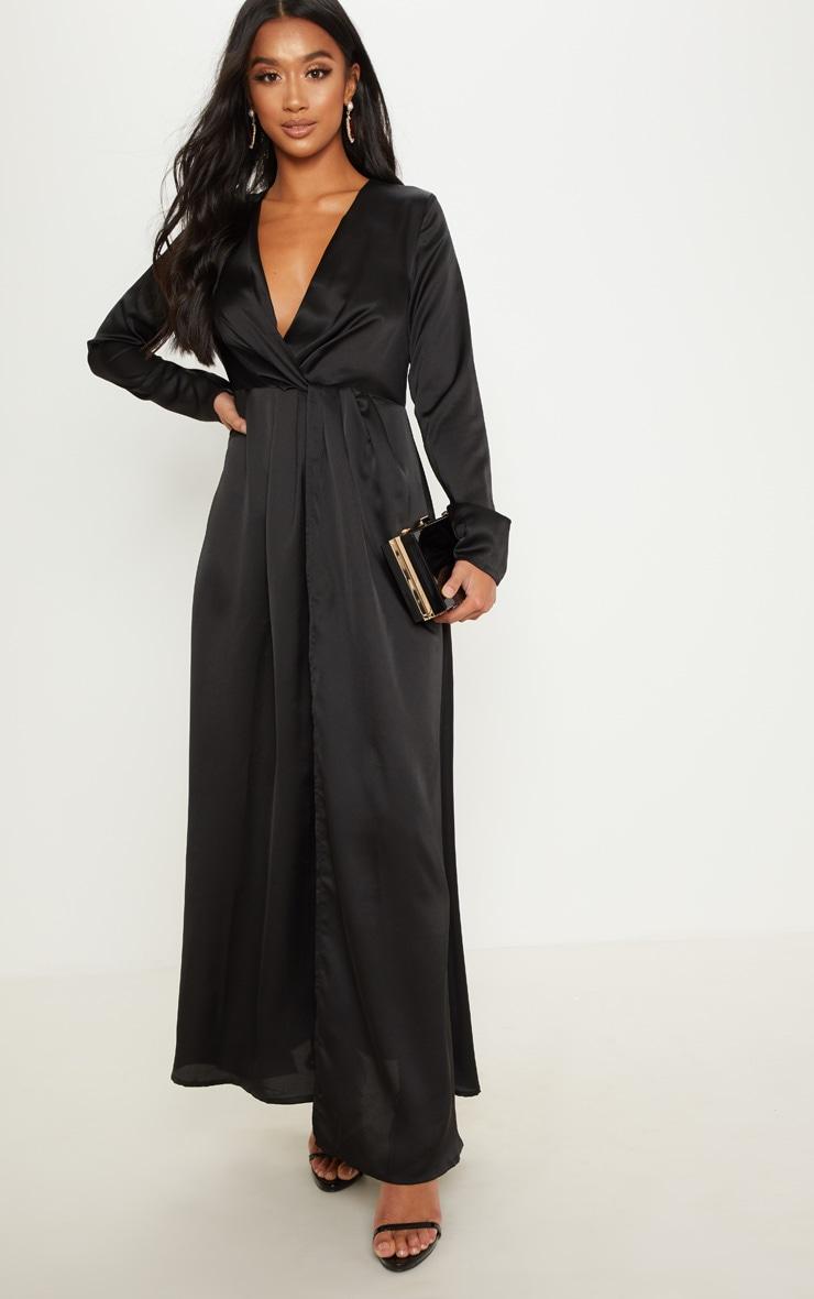 Petite Black Twist Front Maxi Dress 3