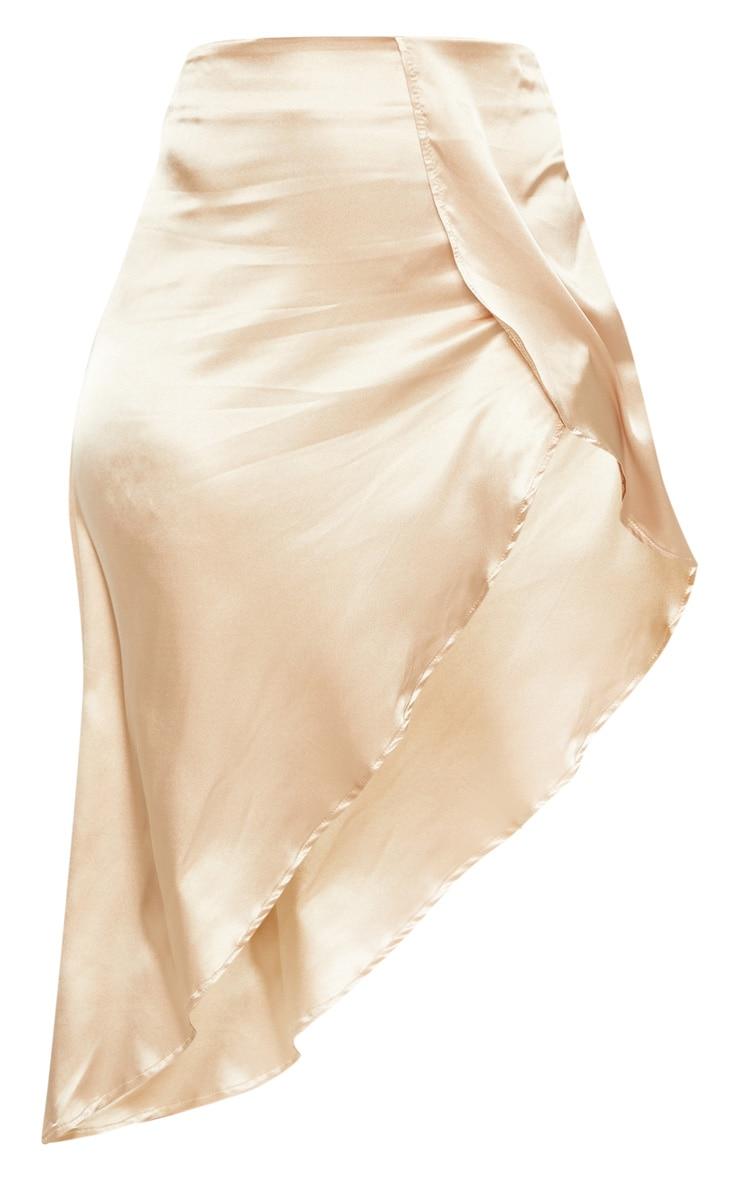 Champagne Satin Asymmetric Skirt  3