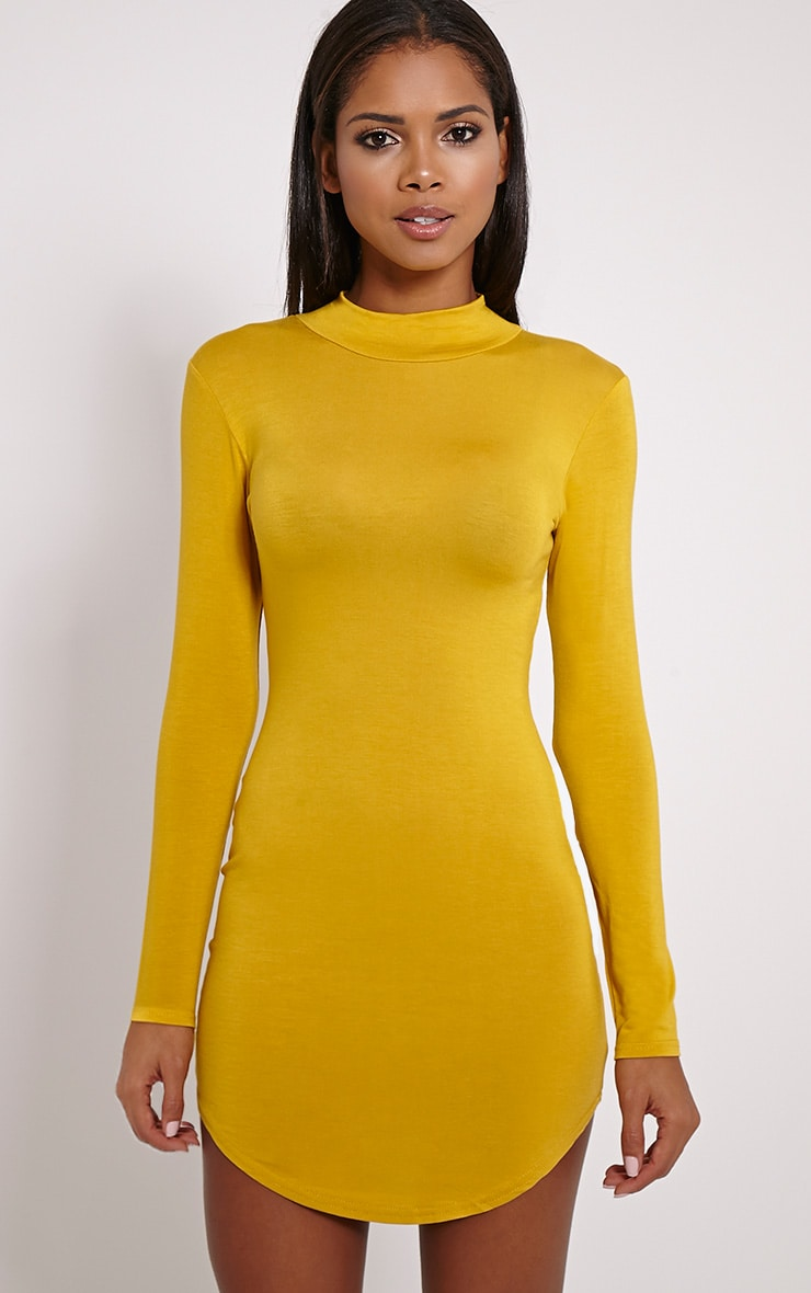 Alby Mustard Curve Hem High Neck Dress 1