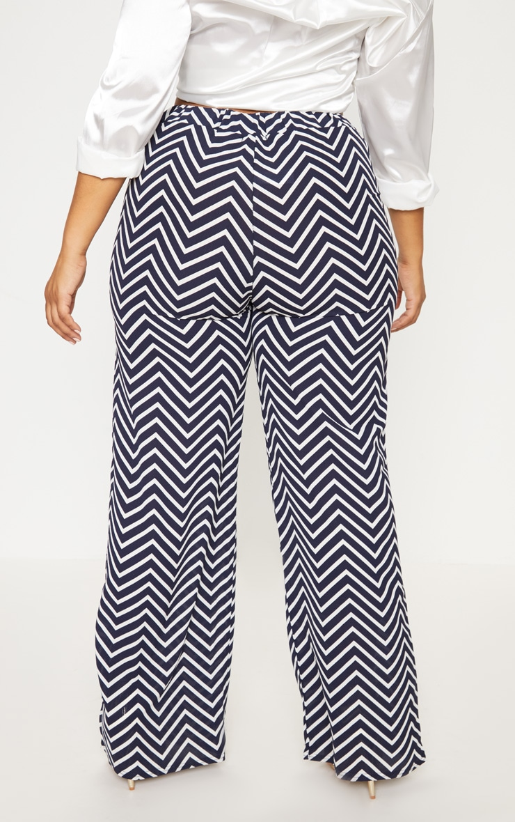 Plus Navy Chevron Wide Leg Trousers 4