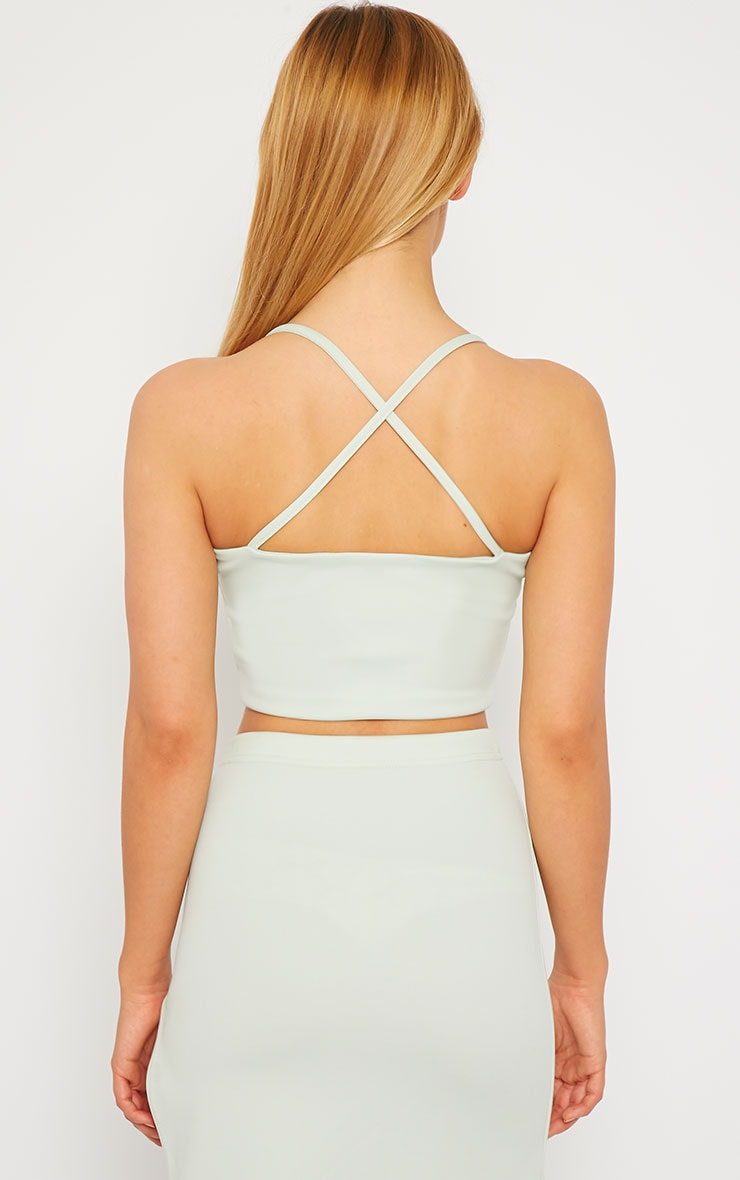 Savina Mint Cross Back Strap Crop Top 2