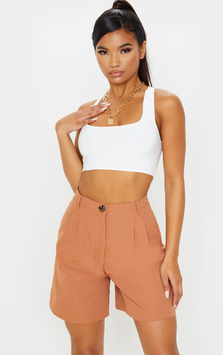 Taupe Woven Oversized Longline Short 1
