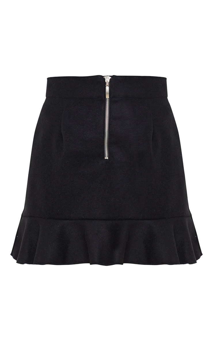 Petite Black Flippy Hem Zip Mini Skirt 3