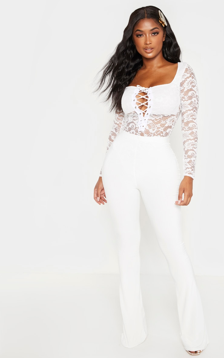 Shape White Lace Long Sleeve Lace Up Bodysuit 4