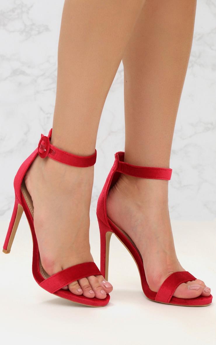 Red Velvet Strappy Heeled Sandal 1