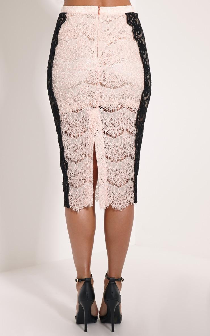 Ani Nude Lace Midi Skirt 2