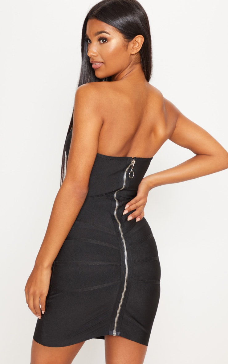 Cloe Black Bandage Panel Bodycon Dress 2