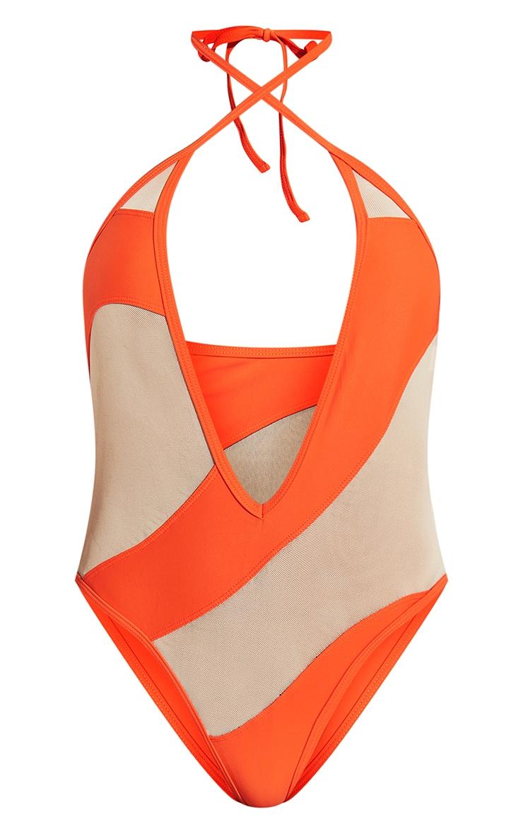 Orange Mesh Panel Plunge Swimsuit 8
