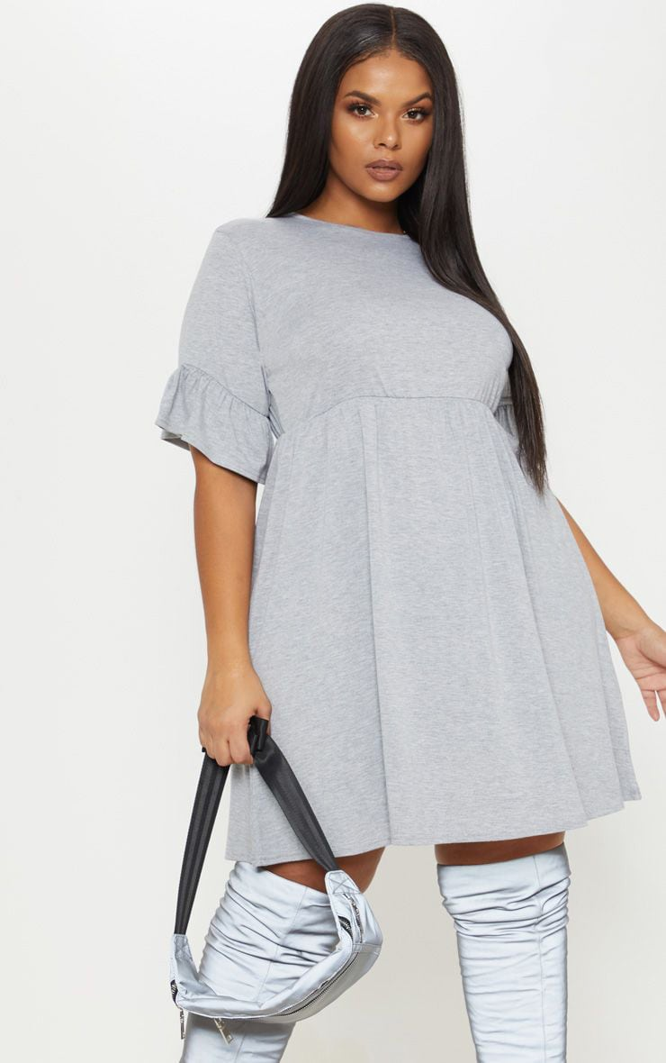 Plus Grey Marl Frill Detail Smock Dress 1