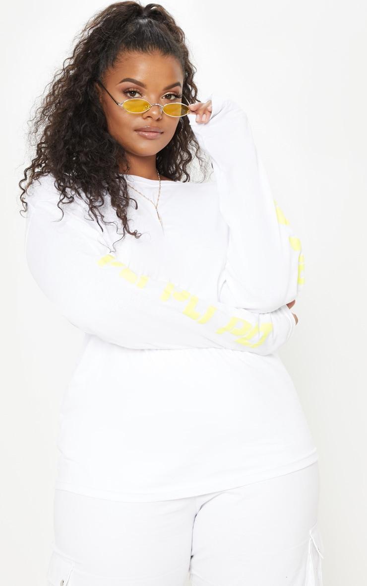 PRETTYLITTLETHING Plus White Printed Long Sleeve T Shirt 4