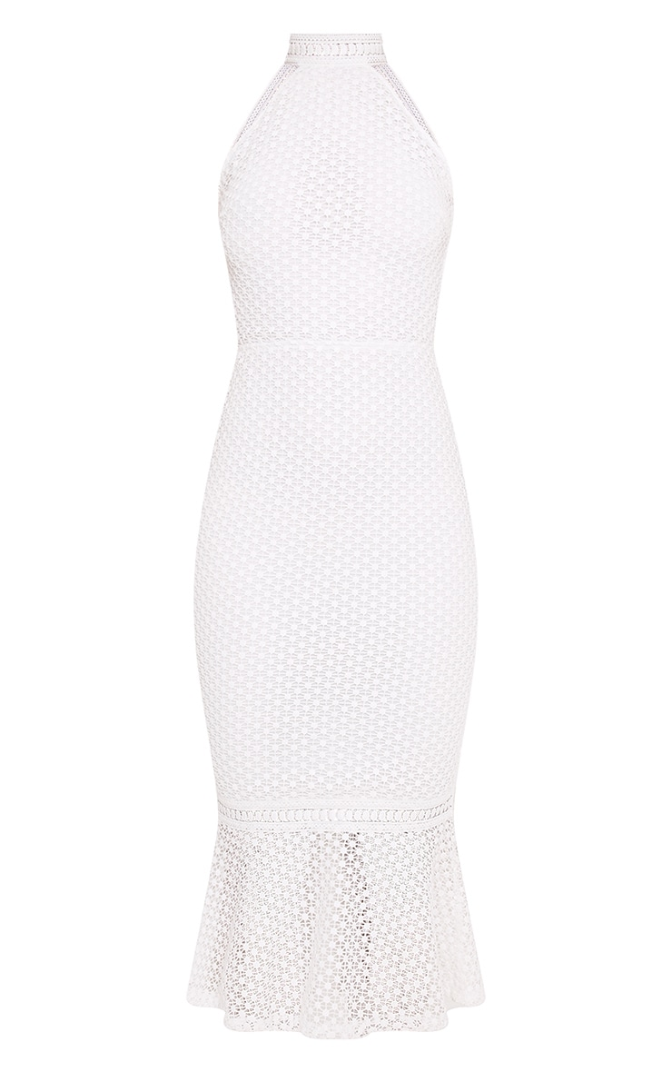 Kymmie White Lace High Neck Midi Dress 2