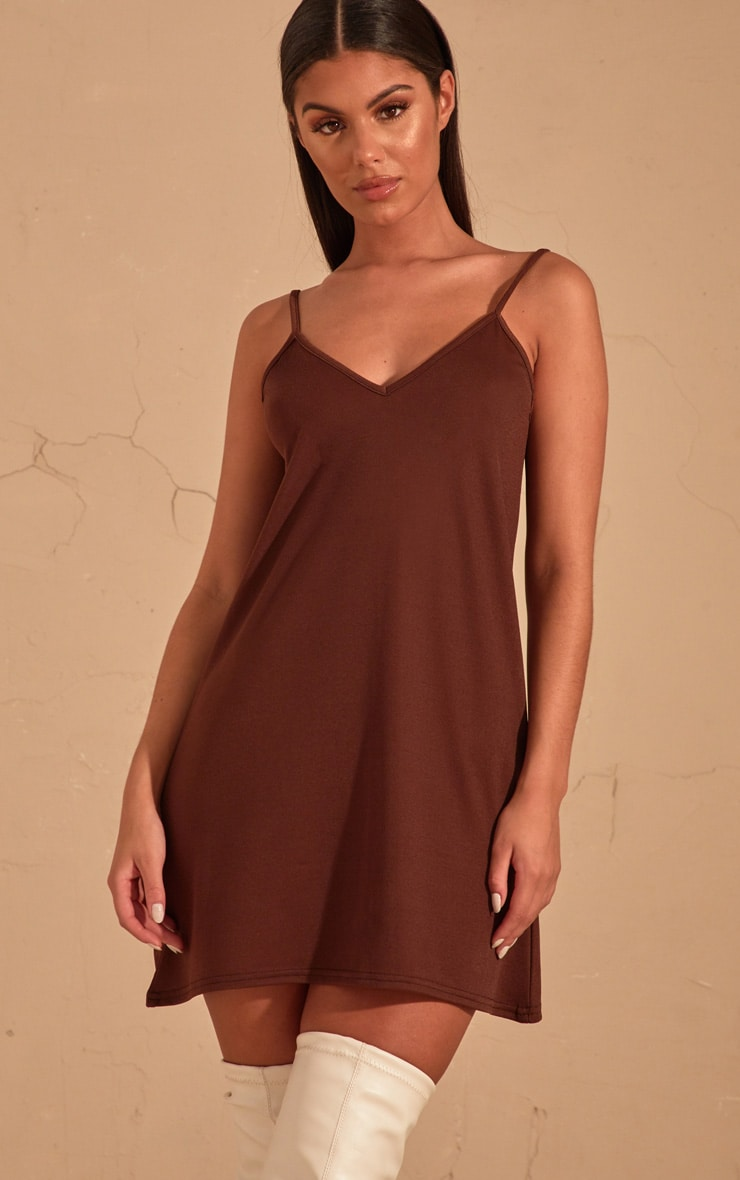 Chocolate Strappy Detail Swing Dress  2