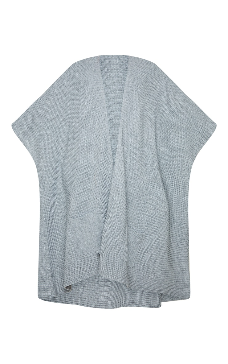 Plus Grey Chunky Knit 3/4 sleeve Wrap Cardigan 5