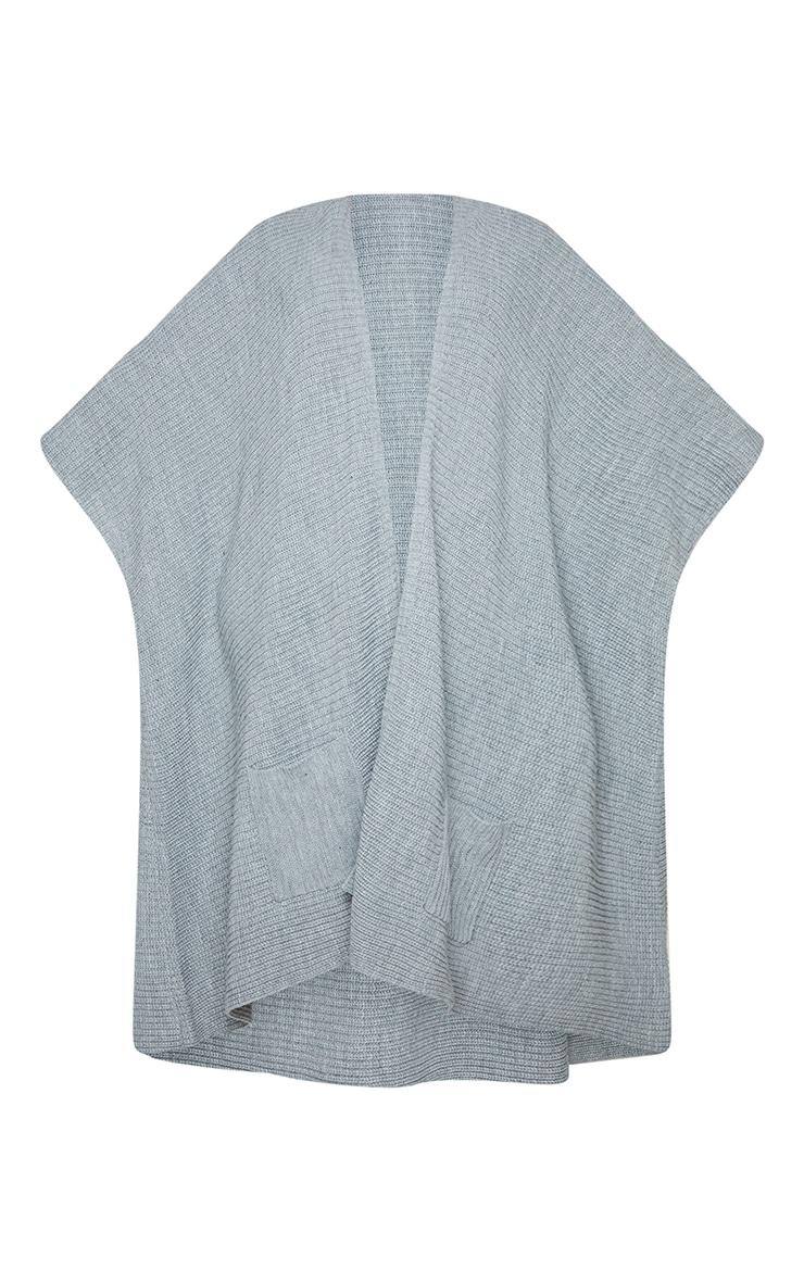 Plus Grey Chunky Knit 3/4 sleeve Wrap Cardigan 5