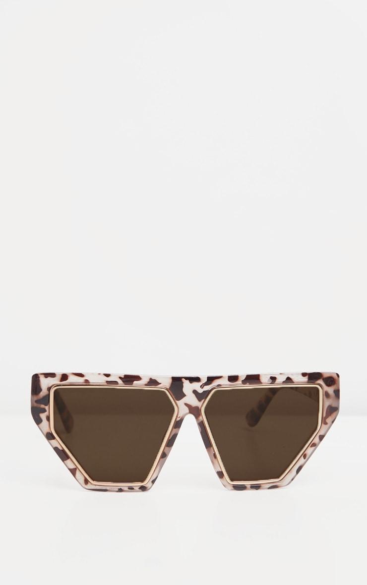 Cream Tortoiseshell Square Angled Gold Bar Sunglasses  2