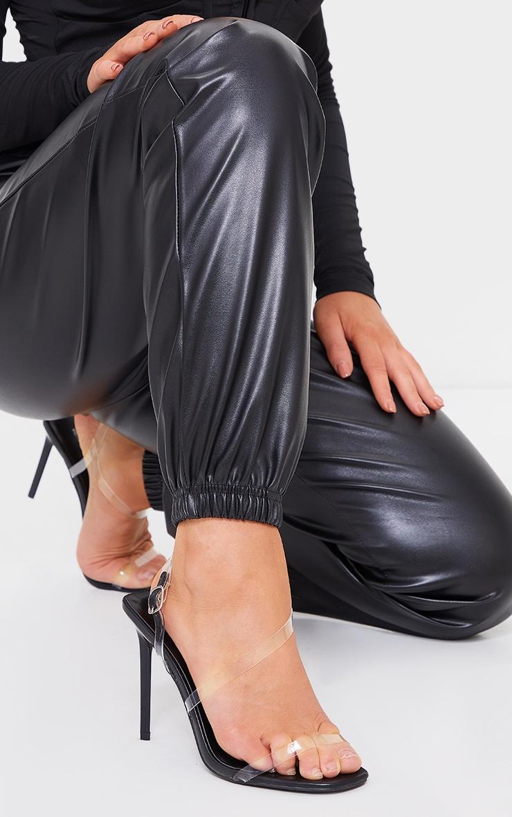 Sandales transparentes en similicuir noir à brides asymétriques 2