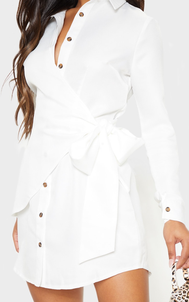 White Tortoise Button Wrap Tie Shirt Dress 5