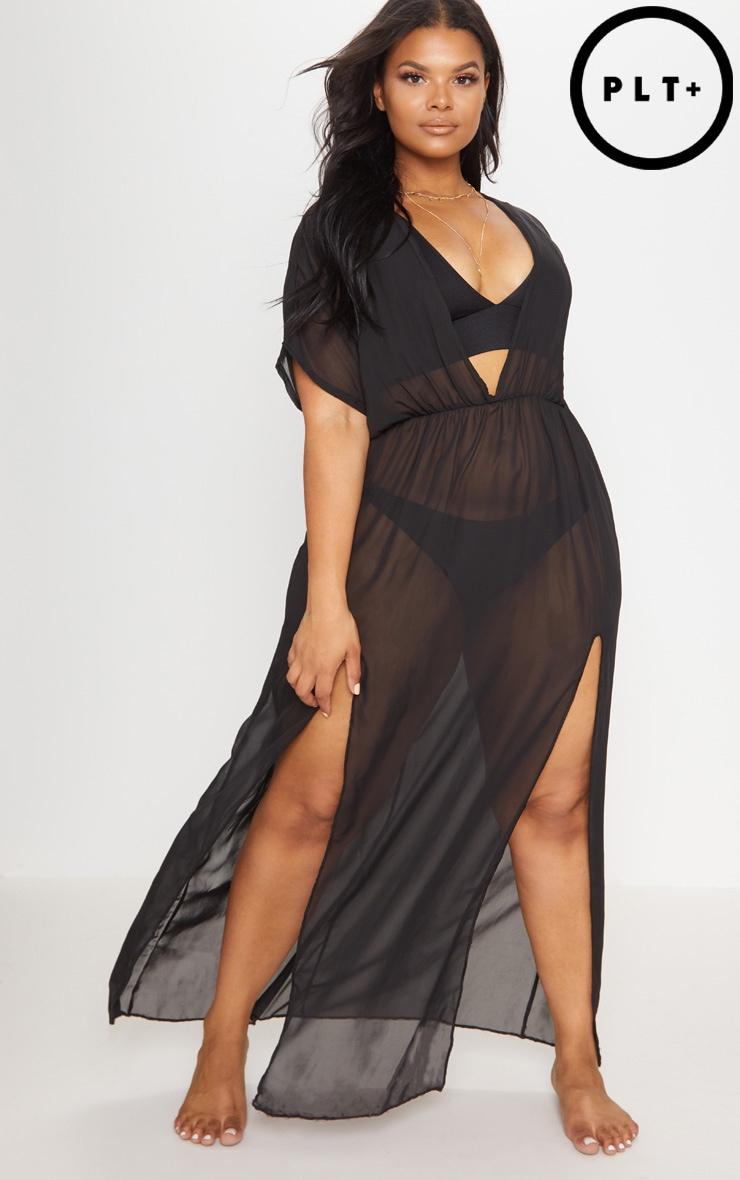 Plus Black Chiffon Plunge Sheer Maxi Dress 1