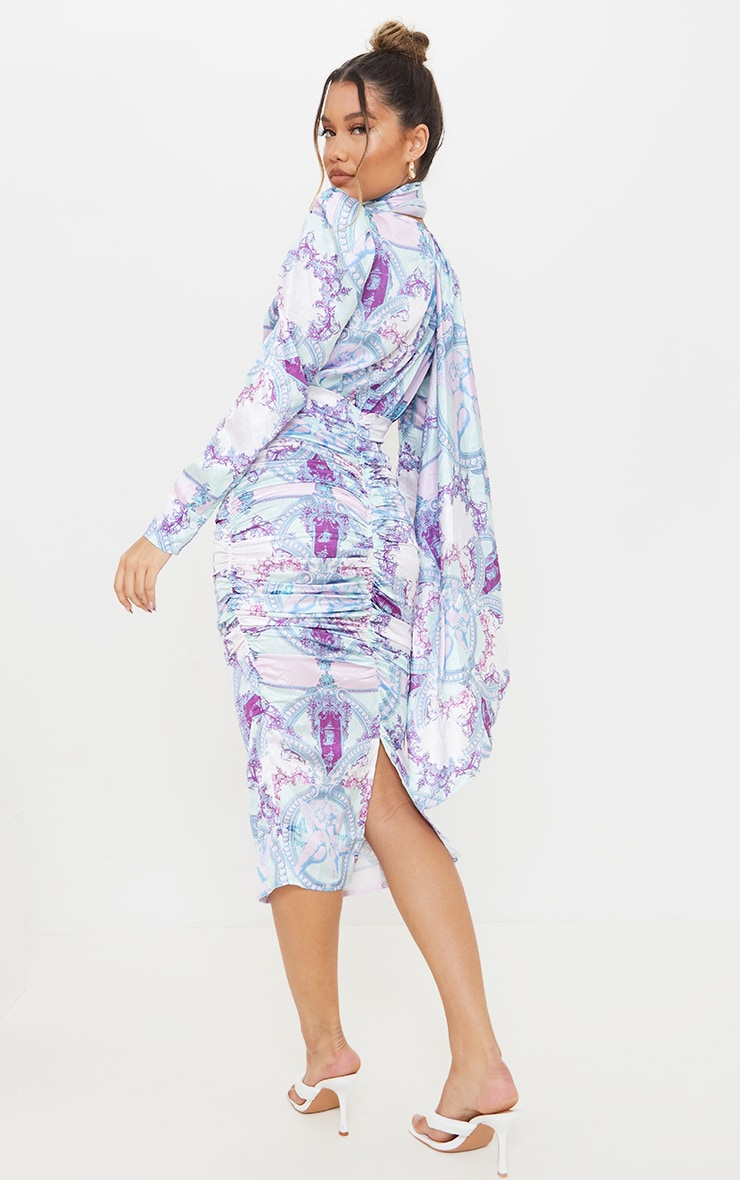 Lilac Paisley Printed Puff Sleeve Dress with Hijab 2