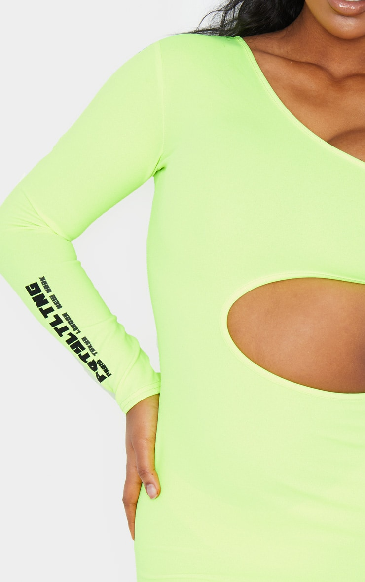 PRETTYLITTLETHING Neon Lime Slogan Extreme Cut Out Bodycon Dress 4