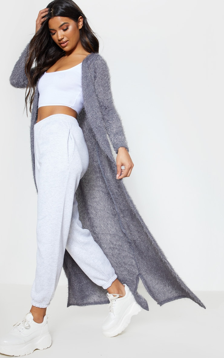 Grey Eyelash Knit Maxi Cardigan 4