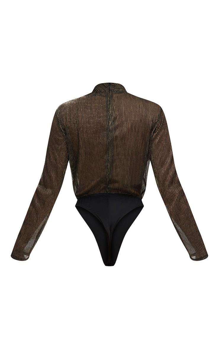 Gold Leopard Sheer Metallic Longsleeve Thong Bodysuit 4