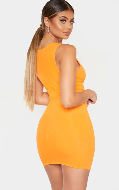Tangerine Bandage Rib Sleeveless Bodycon Dress