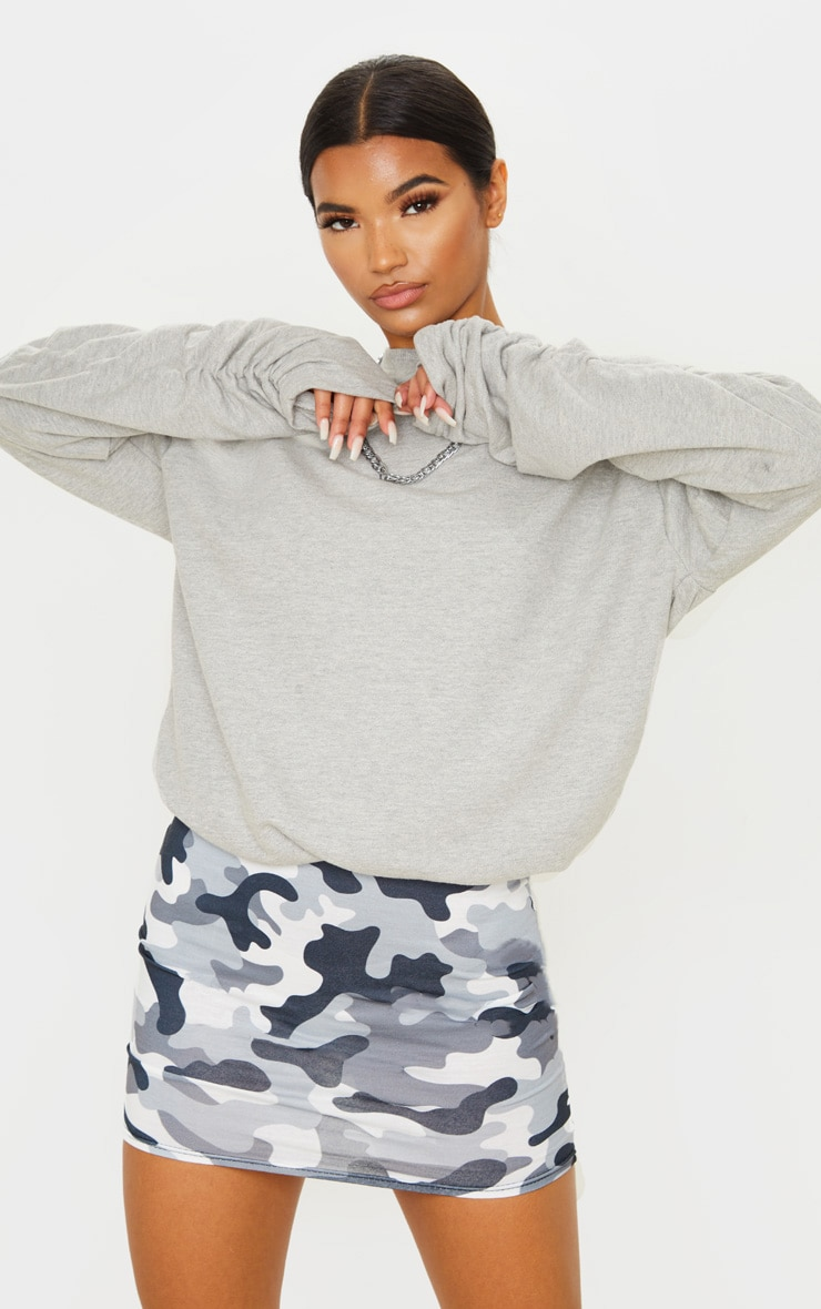 Grey Camo Print Mini Skirt 1