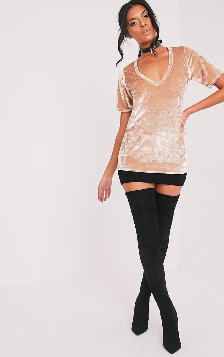Suri t-shirt surdimensionné côtelé en velours champagne 5