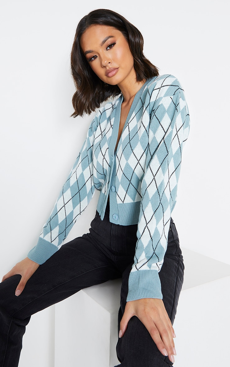 Sage Green Check Cropped Knitted Cardigan 1