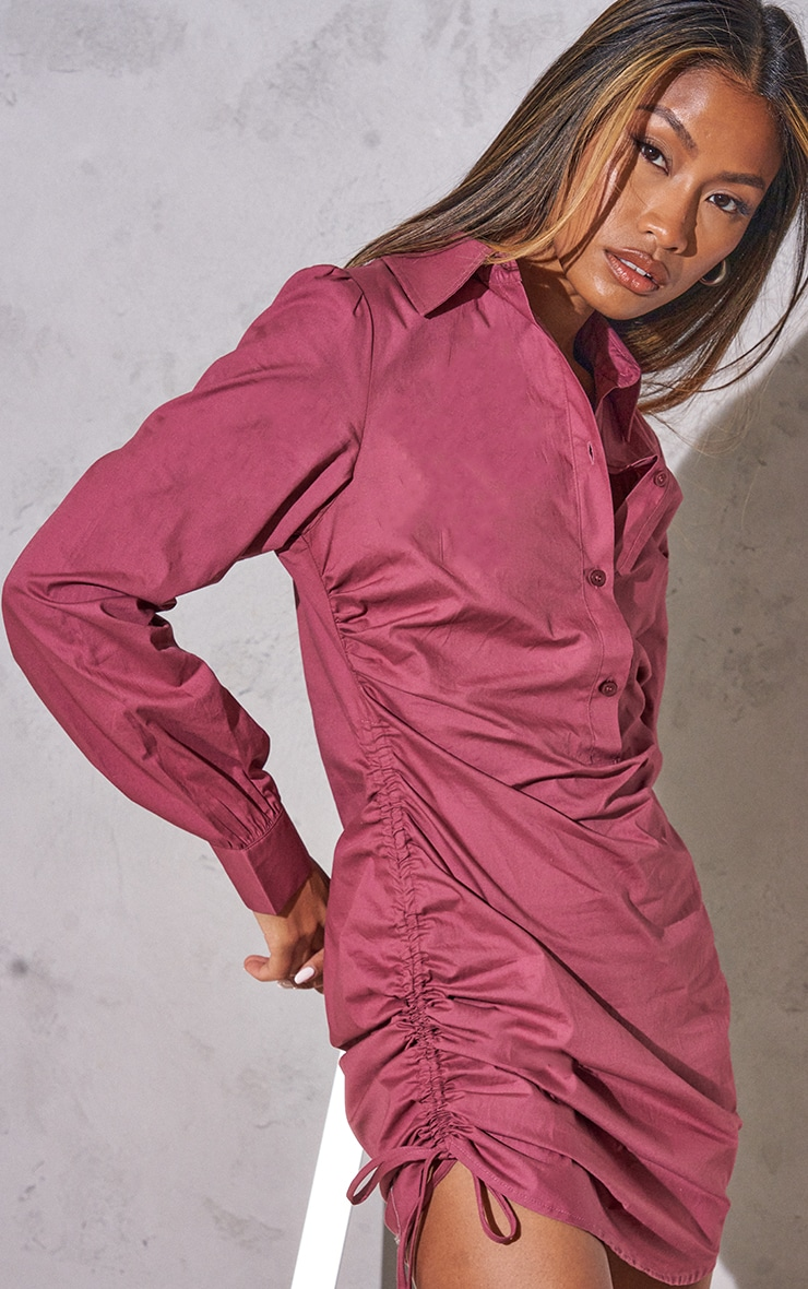 RENEW Washed Red Ruched Side Fitted Shirt Dress 4
