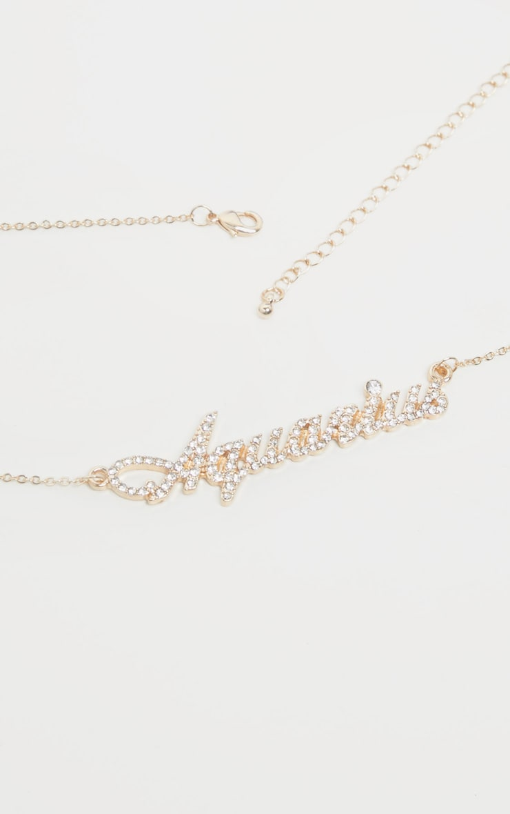 Gold Diamante Aquarius Star Sign Necklace 4