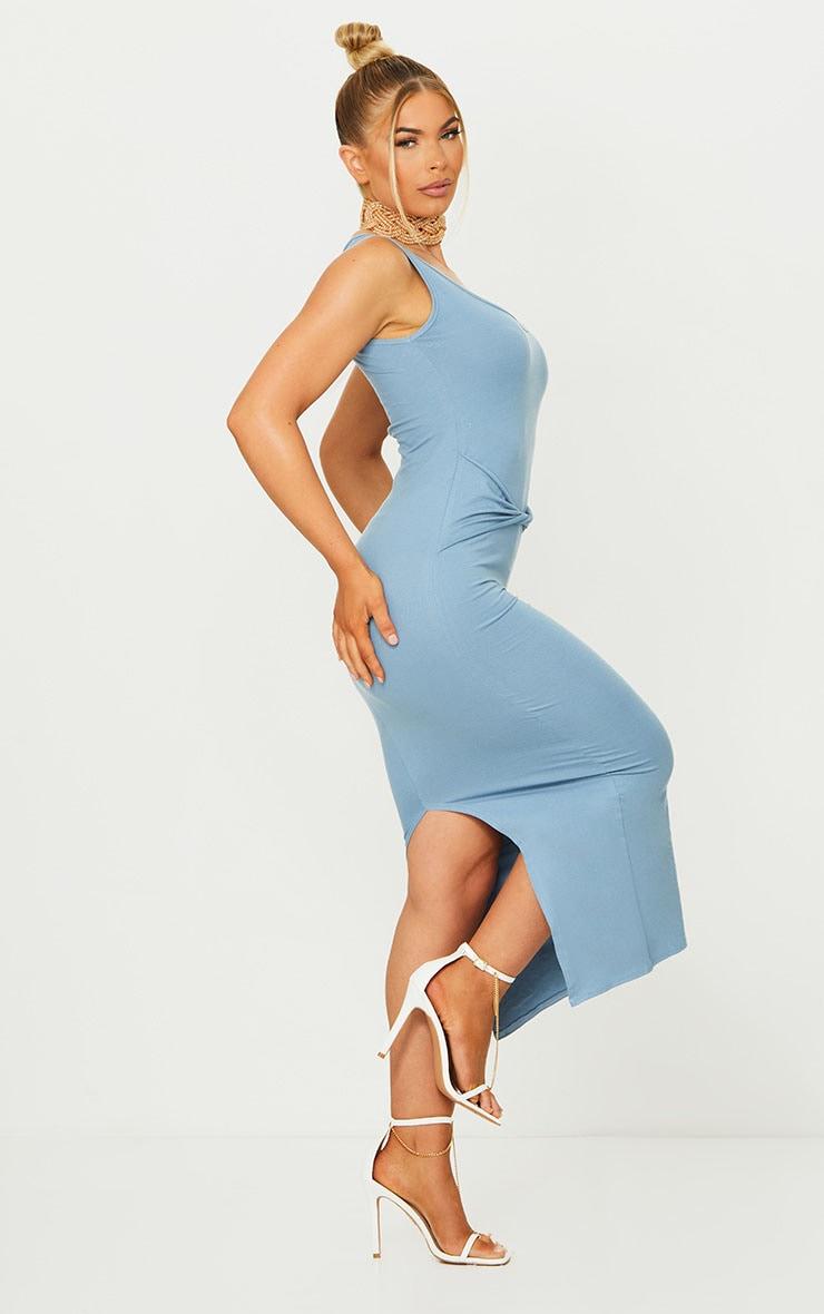 Blue Cotton Sleeveless Twist Waist Midi Dress 3