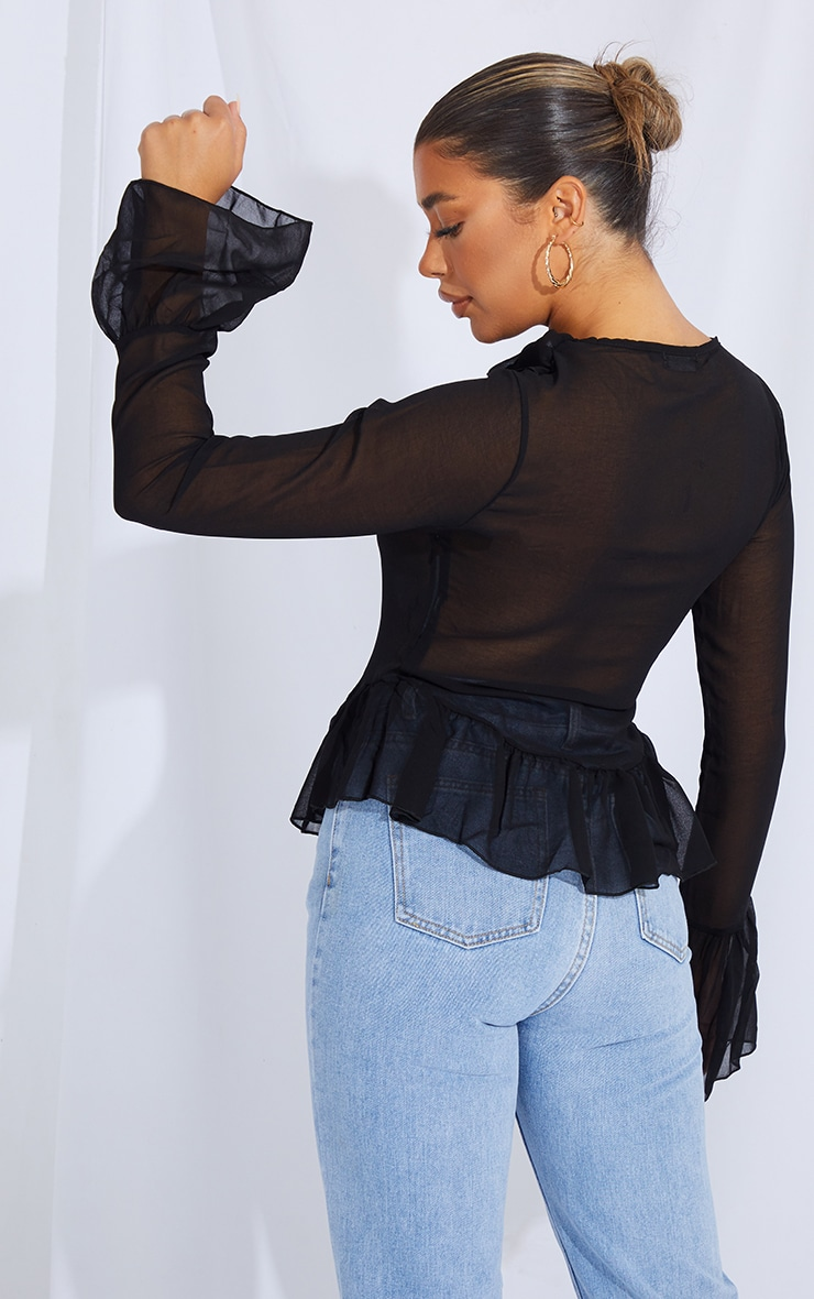 Black Chiffon Frill Detail Lace Up Blouse 2