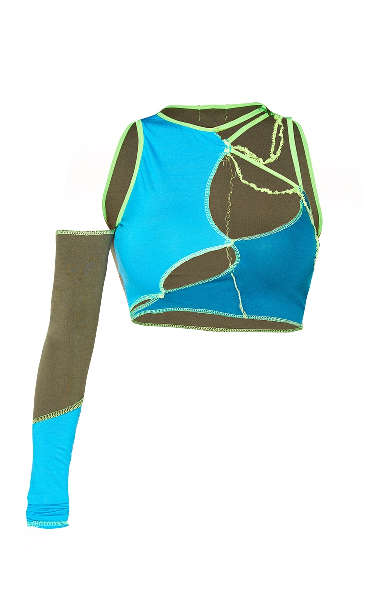 Shape Blue Panel Cut Out Overlock One Sleeve Crop Top 5