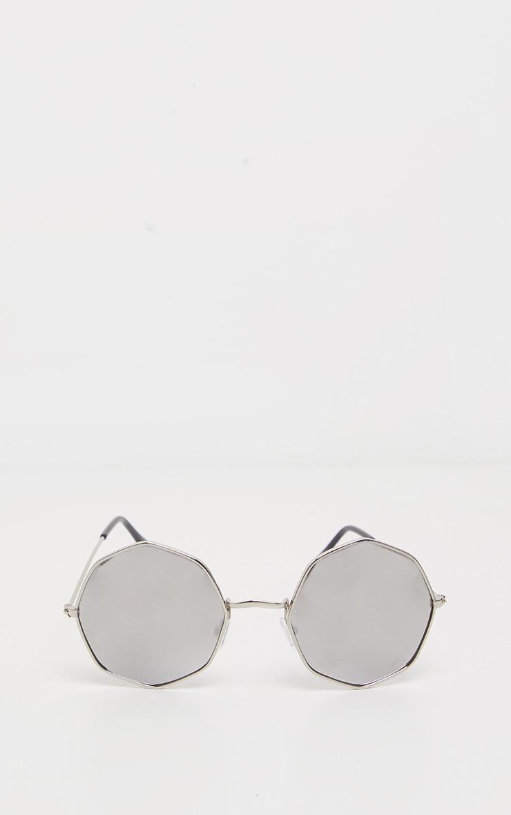 Silver Hexagon Frame Sunglasses 2