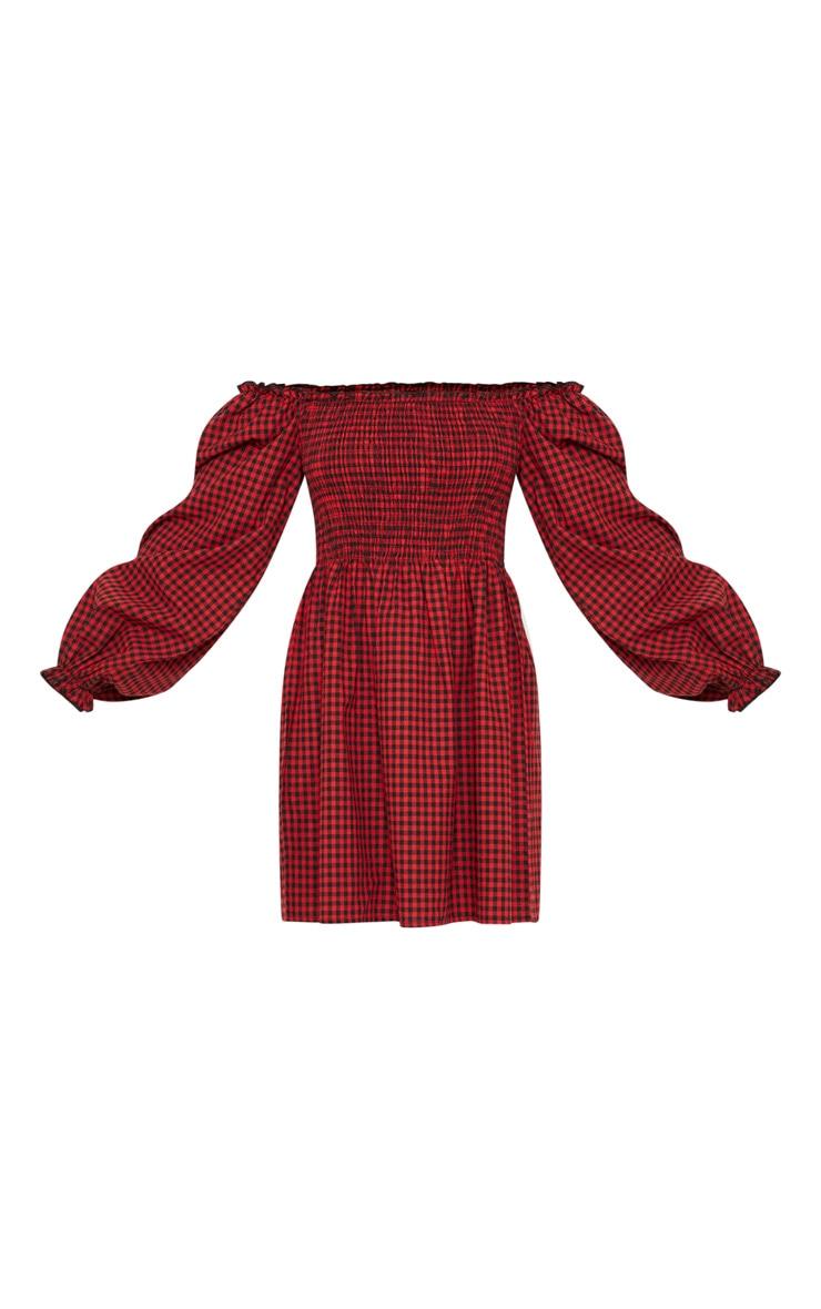 Petite Red Gingham Bardot Shirred Skater Dress 3