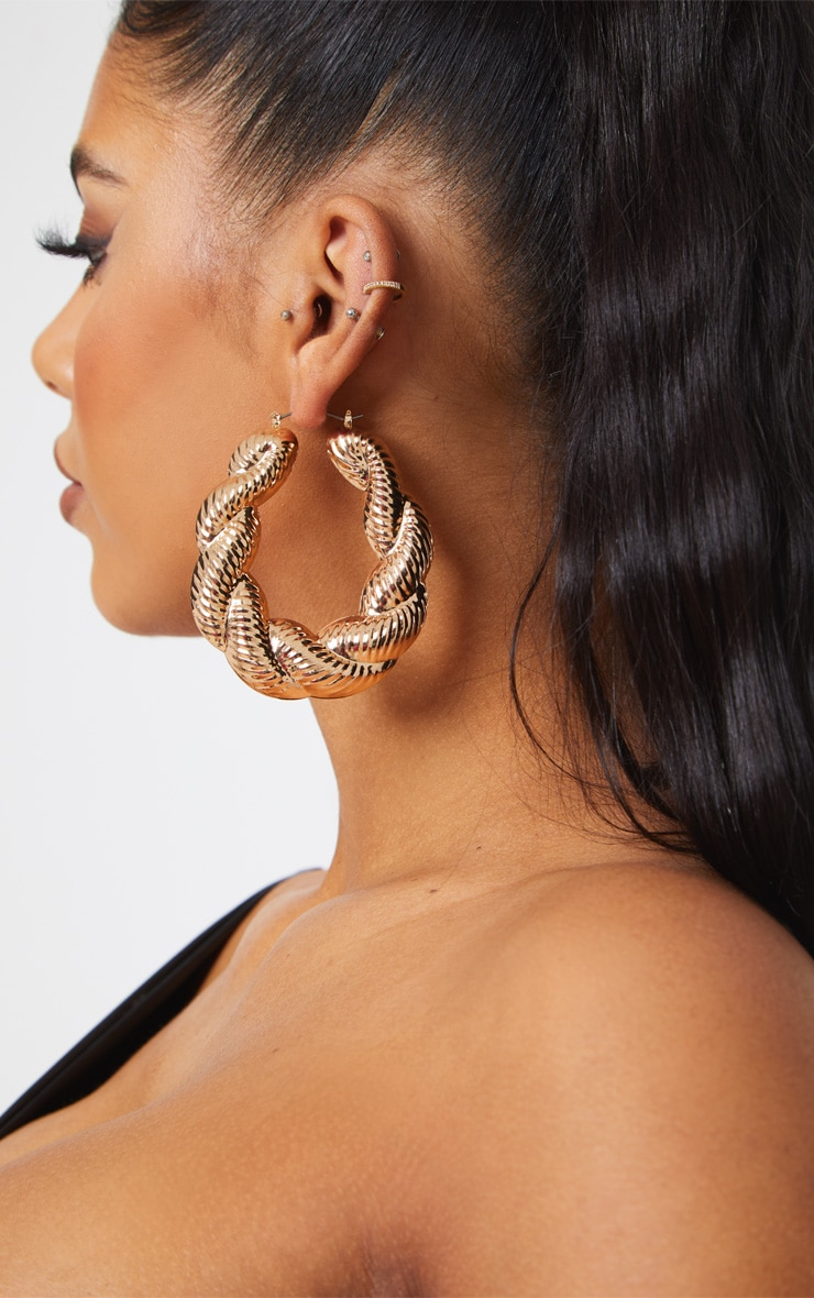 Gold Creole Large Hoop Earrings 1