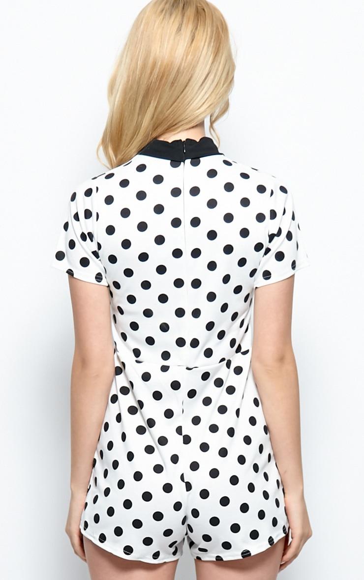 Edie White Polka Dot Collar Playsuit 2