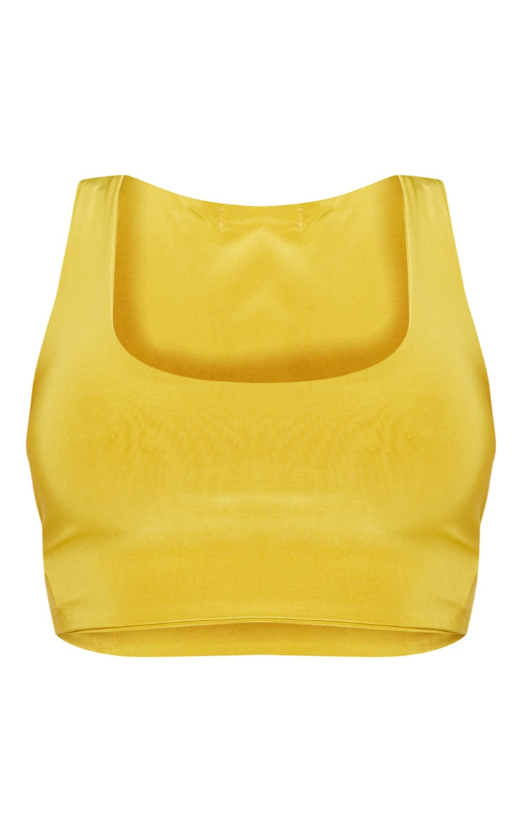 Shape Chartreuse Slinky Square Neck Crop Top 3