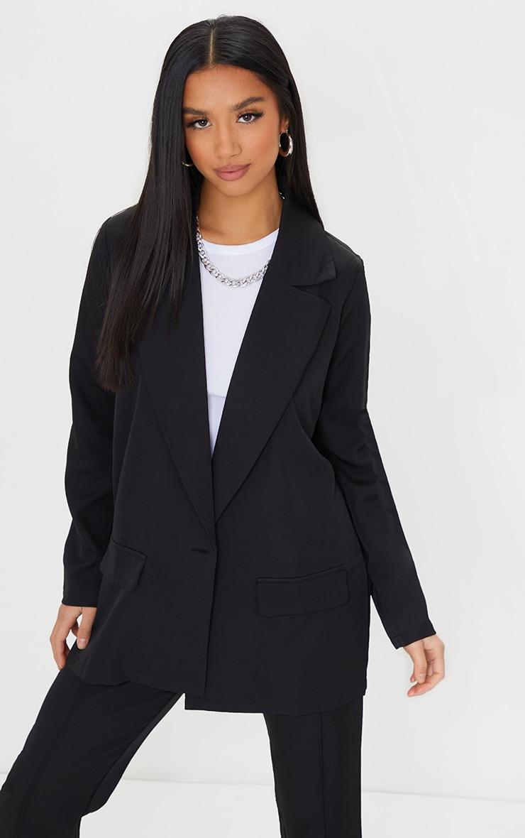 Petite Black Oversized Pocket Blazer