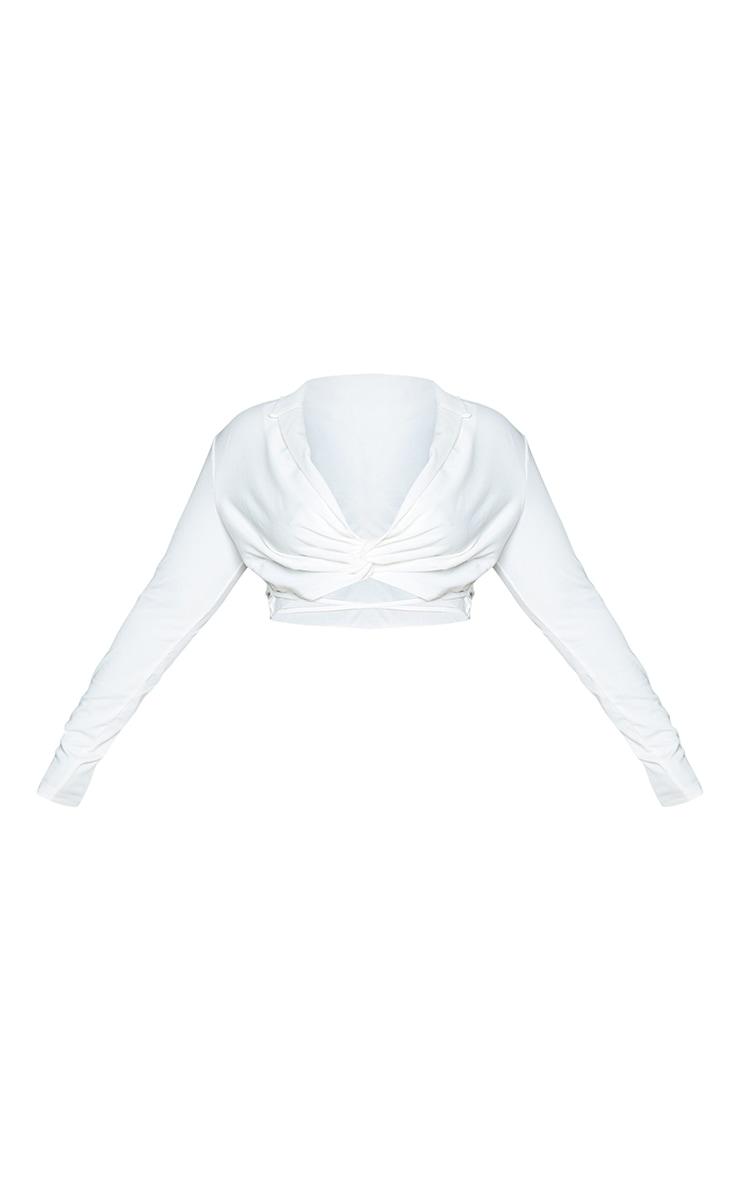 Plus White Wrap Around Cropped Blouse 5