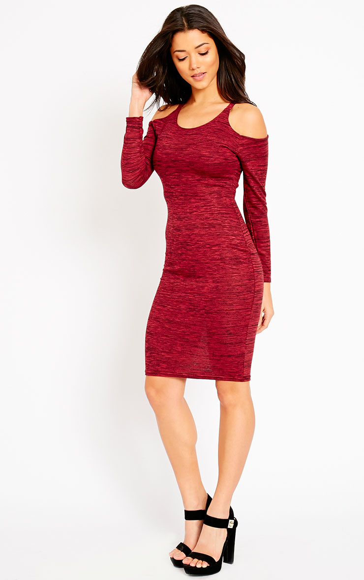 Izadora Wine Cut Out Long Sleeve Midi Dress 3