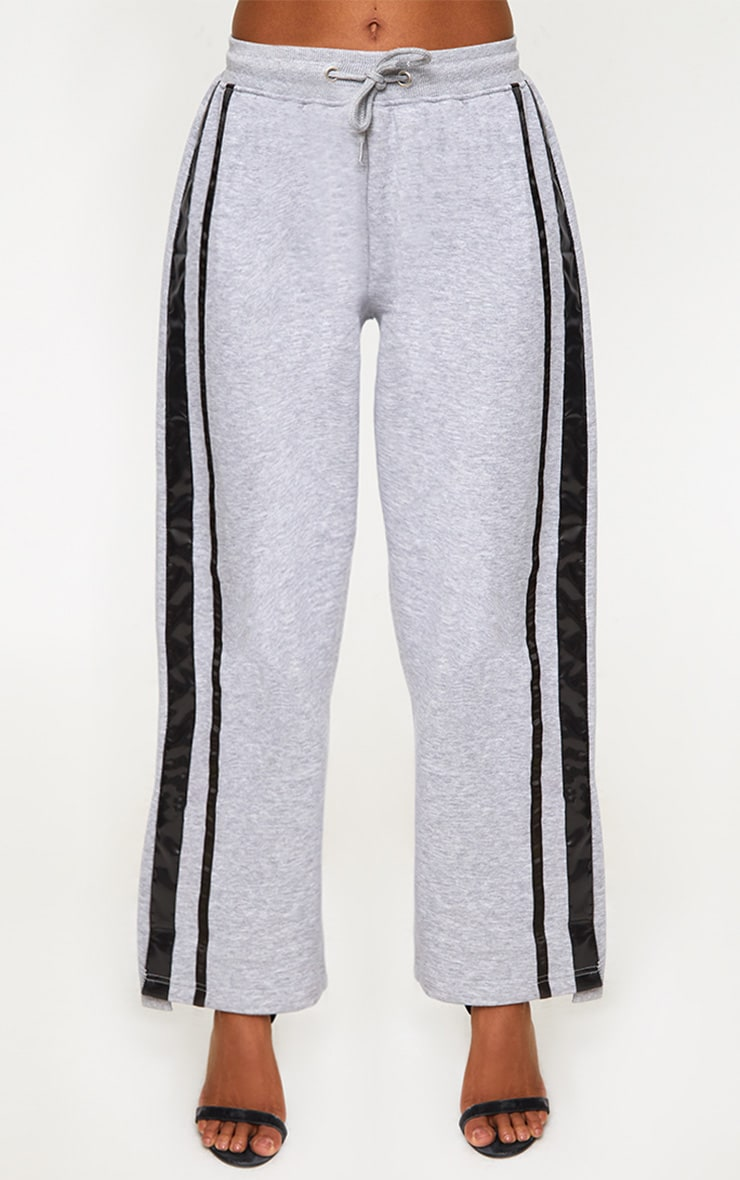 Grey Contrast Silk Stripe Wide Leg Track Pants 2