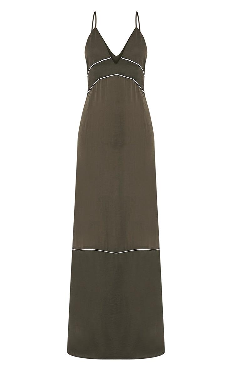 Learna Khaki Maxi Plunge Back Slip Dress 2