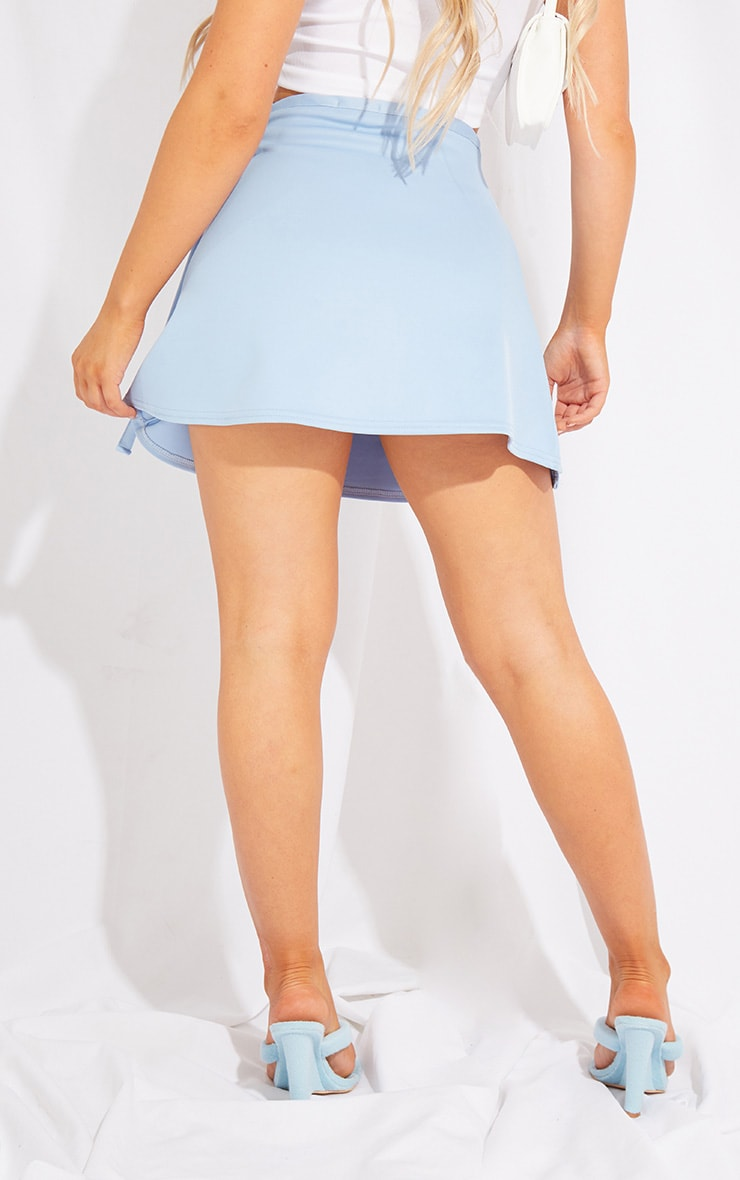 Baby Blue Scuba Wrap Mini Skirt 3