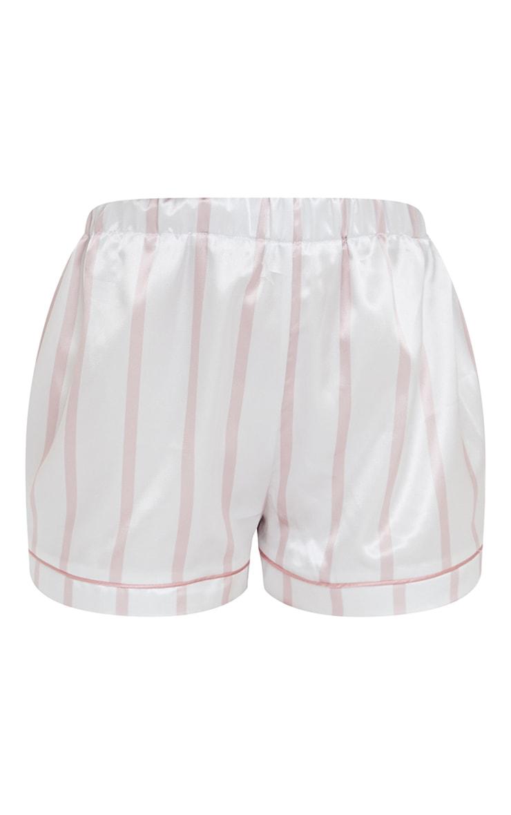 Pale Pink Stripe Mix And Match Satin PJ Shorts 6