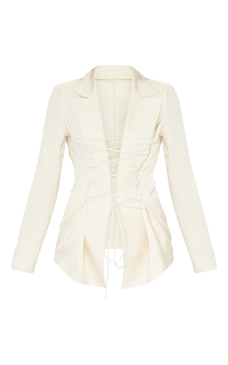 Cream Lace Front Fitted Waist Longline Blazer 5