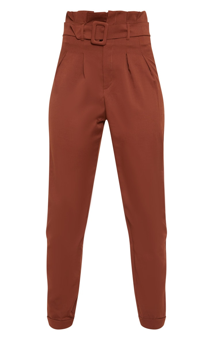 Tall Brown Belt Detail Straight Leg Pants 3
